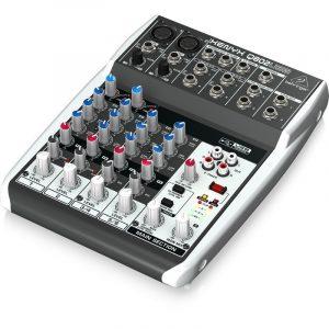 מיקסר ברינגר 8 ערוצים הכולל קומפרסור לערוצי המיקרופון וחיבור למחשב להשמעה/הקלטה xenyx q802usb behringer